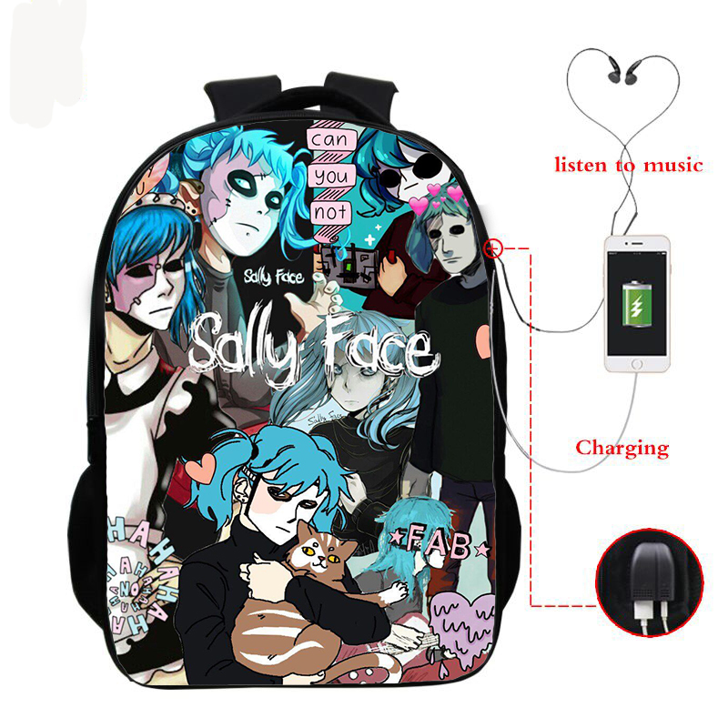 Sally Face Backpacks Kids School Bags Teenagers Backpack Hip Hop Bag Unisex Travel Bookbag Nylon 16 Inch Mochila Can Customized