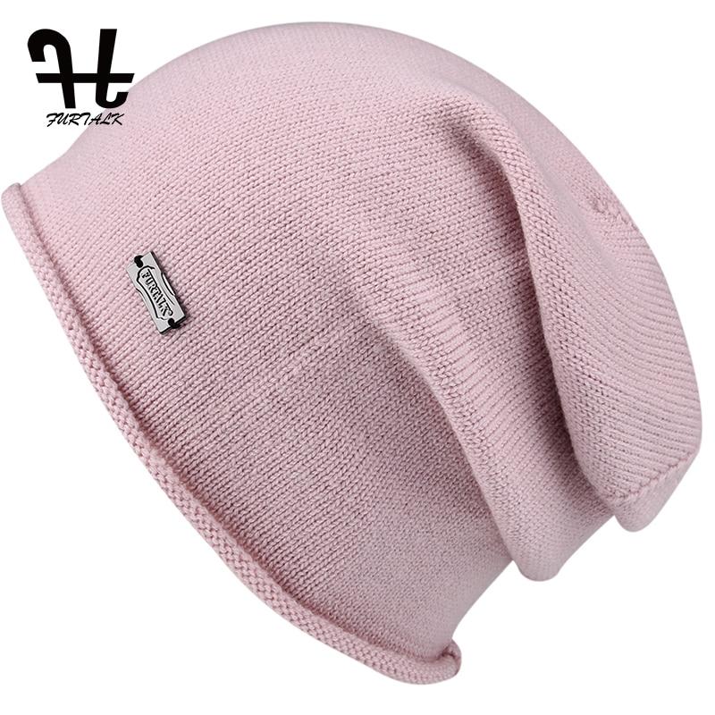 FURTALK Wool Cashmere Autumn Winter Women Hat Knit   Skullies     Beanies   Slouch Braided Winter Hat For Women
