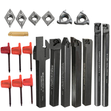 цена на 7pcs DCMT/CCMT Carbide Inserts High Hardness Blades + 7pcs Lathe Turning Tool Holder Boring Bar with Wrenches
