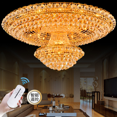 Continental Circular Golden Living Room Atmosphere Lobby Restaurant Crystal Luxury Hotel 1.2 1.5 M Ceiling Lights
