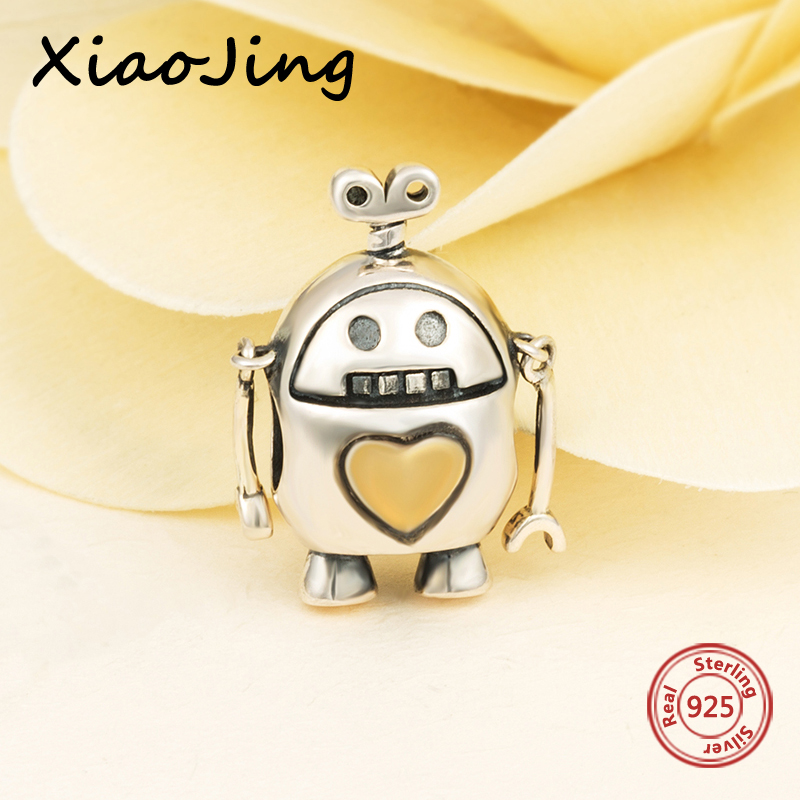 New style 925 Sterling silver charms rocket robot beads fit original pandora bracelet diy fashion Jewelry making for men Gifts strollgirl silver 925 bat growing charms pendant beads fit original pandora bracelet diy fashion jewelry making for women gifts