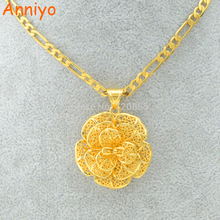 Anniyo Flower Charm Pendant Necklace Gold Color and Copper Jewelry for Women Girls,Nice Gifts