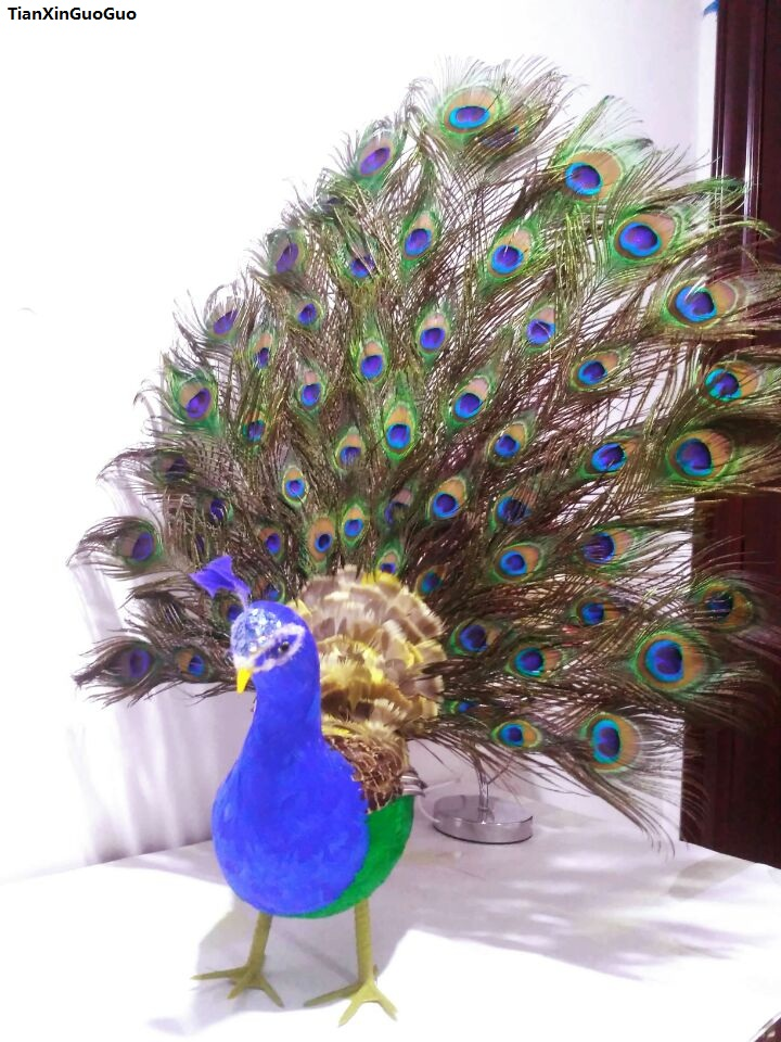 цена на simulation peacock model large 65x60cm,spreading tail feathers peacock handicraft,home decoration ornaments Xmas gift w3000