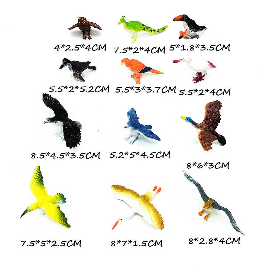 Image 2 - 12pcs Simulated Plastic Bird Animals Models Toys Set Artificial Multi color Birds Figures Kids Educational Toys for Toddlers-in Action & Toy Figures from Toys & Hobbies