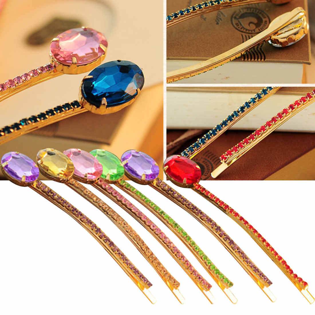 Headbands de cristal Mulheres Meninas Headwear Strass Presilhas para o Sexo Feminino Grampos de cabelo Acessórios Para o Cabelo Cor de Ágata Mulheres Hairclips