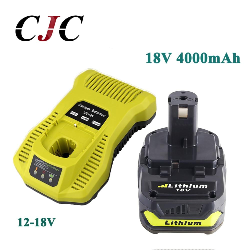 18 В 4000 мАч литий ионный Перезаряжаемые Батарея для Ryobi P108 RB18L40 для Ryobi для одного + с 12 18 В P117 Зарядное устройство