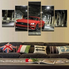 HD Printing On Canvas 5 Panel Ford Mustang Red Car For Children Room Decoration Print Modular Pictures Wall Art Framework