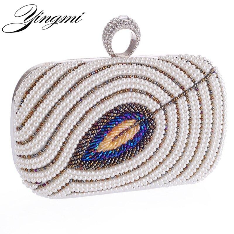 Diseño hecho a mano con cuentas bolsos de noche las mujeres dedo anillo de diama