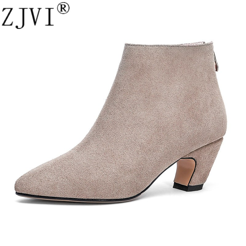 ZJVI womens suede genuine leather pointed toe ankle boots women winter autumn mid heels boots 2018 woman ladies nubuck shoes 2018 new fashion spring autumn genuine leather motorcycle boots shoes woman pointed toe ankle boots chunky mid heels women shoes