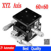 XYZ Axis 60*60mm Trimming Station Manual Displacement Platform Linear Stage Sliding Table 60*60mm XYZ60-LM cross rail LD60-LM