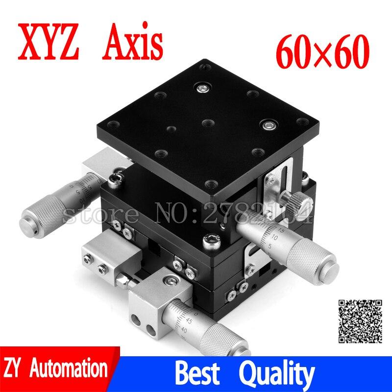 Eixo XYZ Plataforma 60*60mm Estação de Corte Manual de Deslocamento Linear Fase Mesa Deslizante 60*60mm XYZ60-LM ferroviário cruz LD60