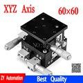 Eje XYZ 60*60mm recorte estación Manual desplazamiento plataforma lineal etapa de mesa deslizante 60*60mm XYZ60-LM Cruz carril LD60