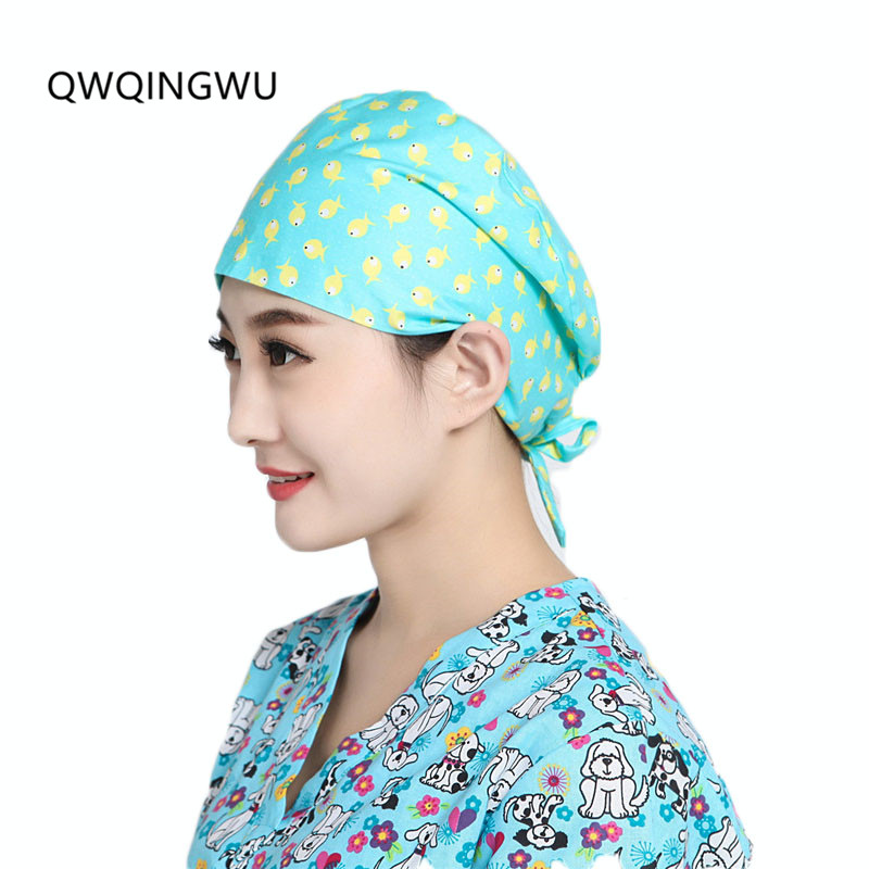 Women Cotton Surgical Caps Doctor Nurse Medical cap Woman Beautician Cap Printing Dome Scrub Hat for