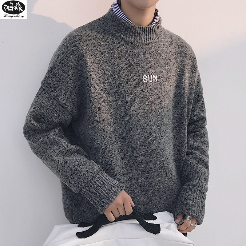 2018 Autumn Pullover Sweaters Fashion Men O-neck Long-sleeve Letters Knitted Leisure Tops Thin Simple Sweater