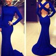 free shipping robe de soiree 2016 new hot&sexy backless vestidos de festa blue party prom gown mermaid long evening Dresses blue blingbling lace sexy mermaid backless evening floor length vestidos de festa scoop prom dresses party evening dress