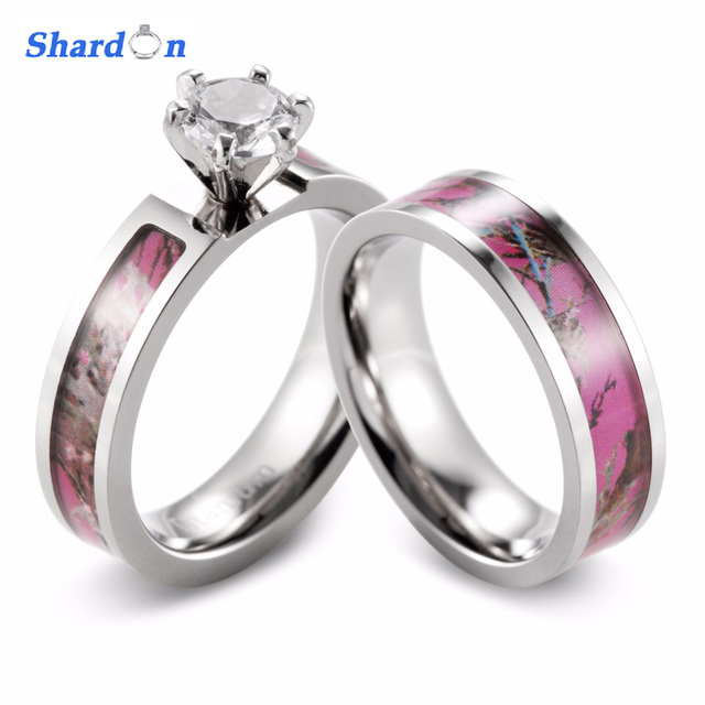 shardon women camo engagement ring set titanium 6 prong setting round cz pink camo wedding band - Camo Wedding Rings Sets