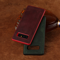 LANGSIDI Phone Case For Samsung Galaxy Note 8 Real Calf Leather Back Cover Case Cowhide Leather