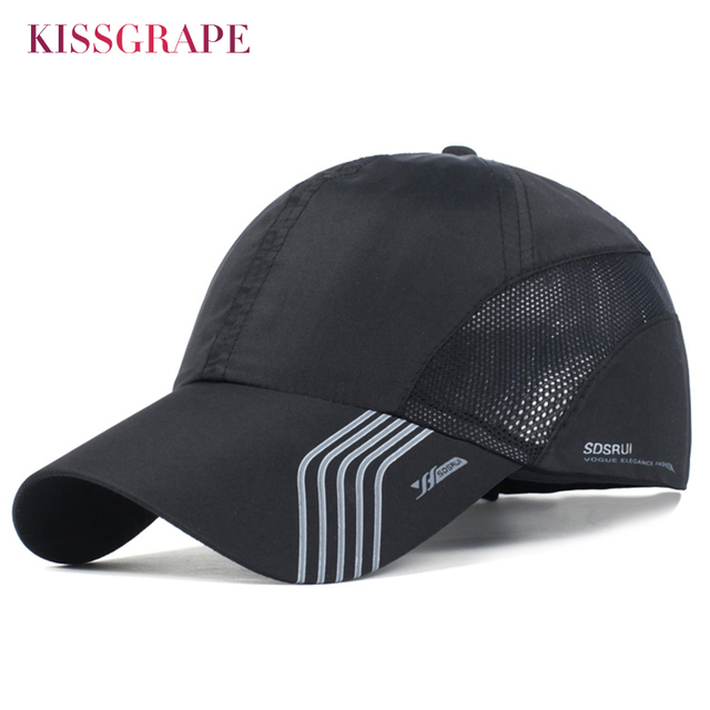 71b7bb1525b Summer Breathable Sport Hats for Men Mesh Baseball Cap Adjustable Hat Men  Bone Snapback Hats Quick Drying Male Outdoor Cap Black