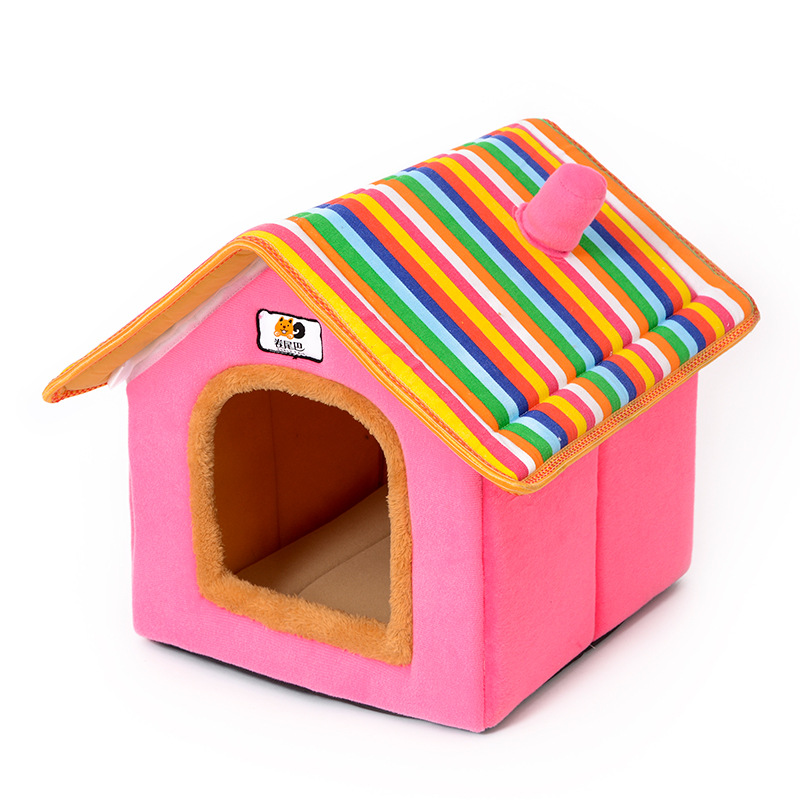 XS-L Pet Cat Dog Bed House Washable Waterproof &no Fade Small Pet House Hand Wash & Mechanical Wash Breathable Dogs Cage 17
