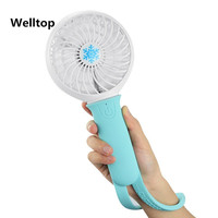 Welltop Portable Mini Fan 3 Speeds Rechargeable USB Fan With LED Light Personal Handheld Fan With