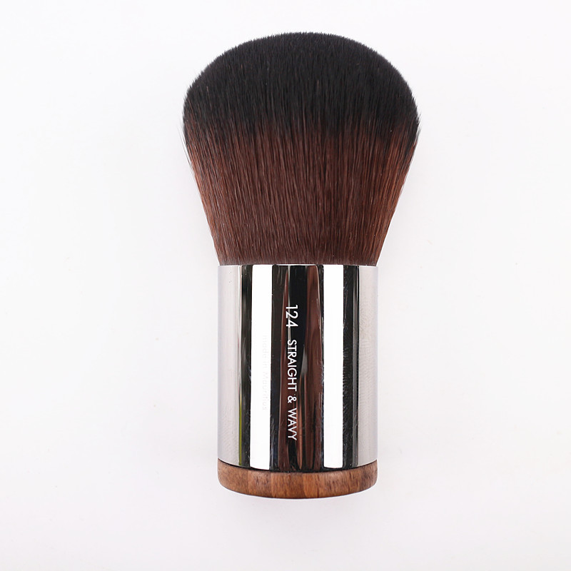 De luxe Ronde Manche En Bois Dôme Forme Kabuki Dense Poudre Pinceau N ° 128 Impeccable Blush Poudre Maquillage Brosses