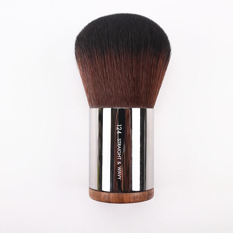 Luxury Round Wood Handle Dome Shape Kabuki Dense Powder Brush NO.128 Flawless Blush Powder Makeup Brushes