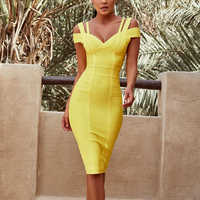 Deer Lady Bandage Dress Bodycon 2019 New Arrivals Sexy Yellow Bandage Dress V Neck Women Off Shoulder Bodycon Dress For Party