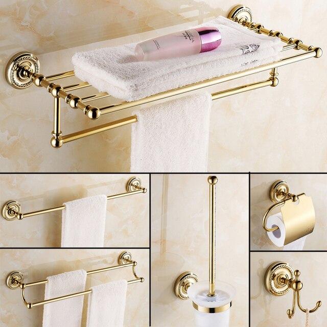 Europe Antique Gold Bathroom Accessories Copper Hardware Set Paper Holder Brush Towel Bar Bath