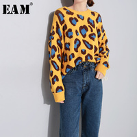 [EAM] 2018 New Autumn Winter Round Neck Long Sleeve Yellow Leopard Printed Large Size Knitting Sweater Women Fashion Tide JI698