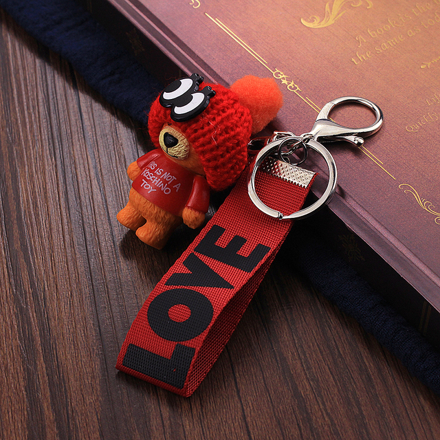 Vicney New Arrival Cute Teddy Bear Key Chain'THIS IS NOT A KOSCHINO TOY'Bear KeyChain Animal Pattern Key Holder For Girl Friend 2
