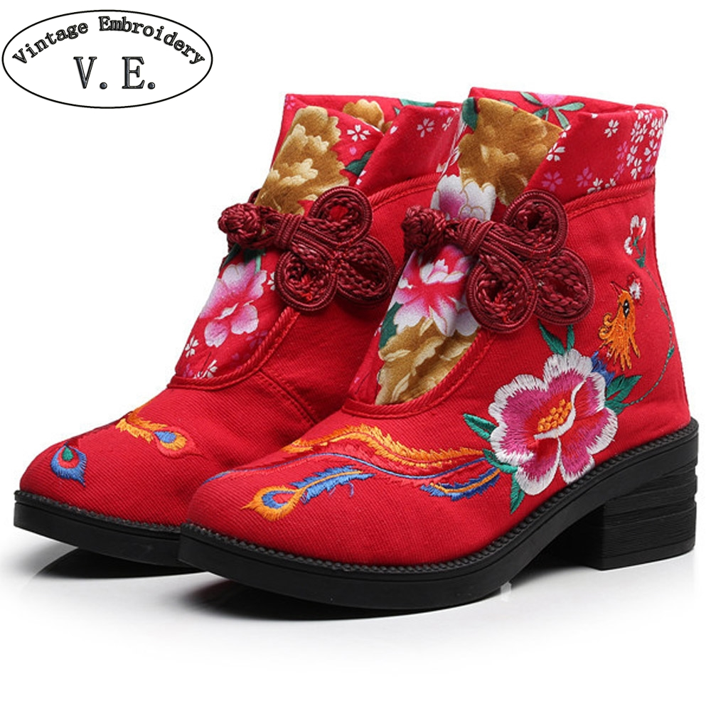 Vintage New Winter Women Boots Flower Phoenix Embroidered Casual Canvas Ankle Boot Vintage Cotton Booties Shoes Boats Mujer new phoenix 11207 b777 300er pk gii 1 400 skyteam aviation indonesia commercial jetliners plane model hobby