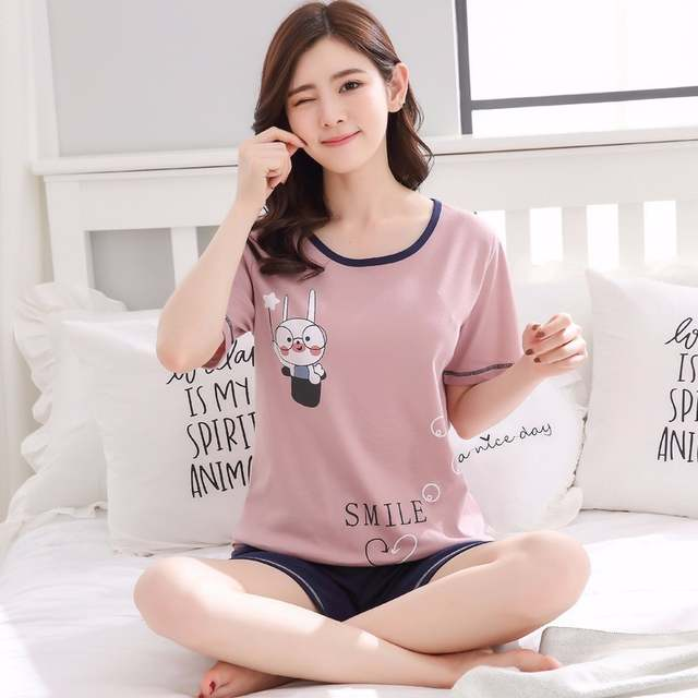c33a56aae04 placeholder Plus Size M-XXX Short Pants + Short Sleeve Tops Pajamas Sets  100% Cotton