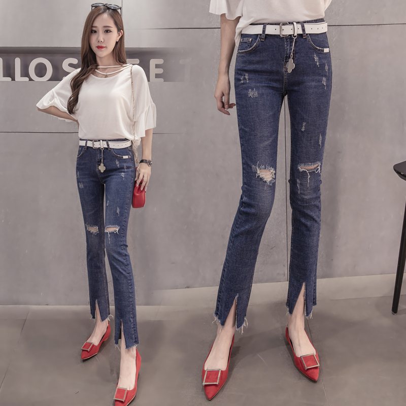 free shipping 2017 spring and summer light blue hole jeans female flash ankle length trousers Ninth