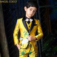Garçons costumes pour mariages luxe Terno Infantil Costume formel pour garçon enfants costumes de mariage garçons vêtements Blazer Costume Garcon Menino