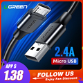 Ugreen Cable Micro USB 2.4A de carga rápida Cable de datos USB Cable de teléfono móvil Cable de carga para Samsung Huawei HTC Tablet Android cable