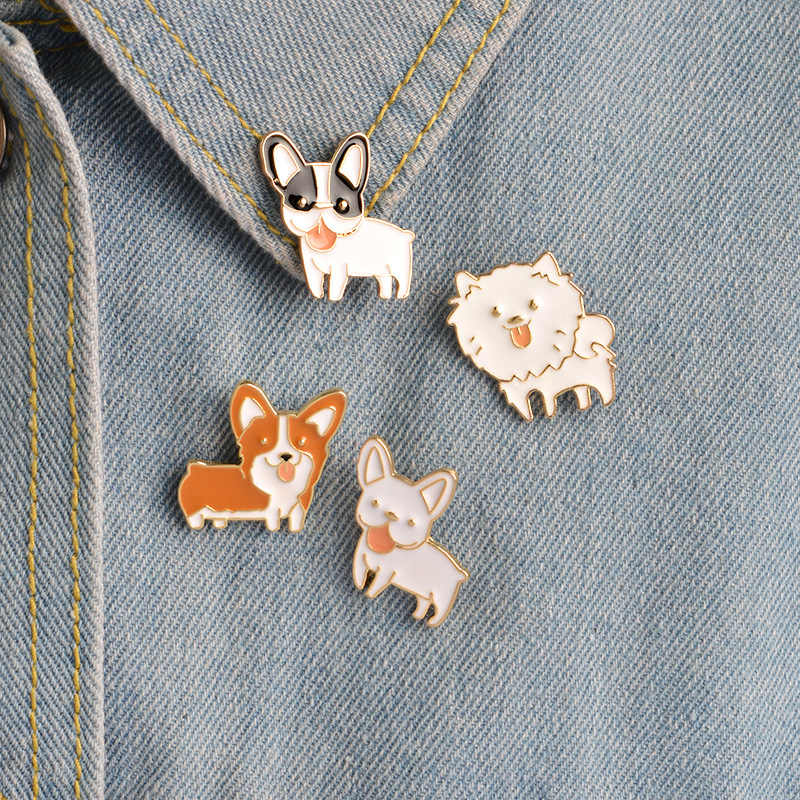 Cartoon Dog Brooch Alloy Collar Pins Jeans Handbag Brooches Metal Badges on The Backpack