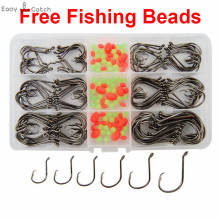 150pcs 7384 High Carbon Steel Fishing Hooks Saltwater Fishing Offset Sport Circle Bait Fishhooks Set Box With Free Fishing Beads