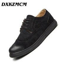 DXKZMCM Men Oxfords Handmade comfortable Brand Suede Luxury Men Dress shoes Mens Flats Shoes