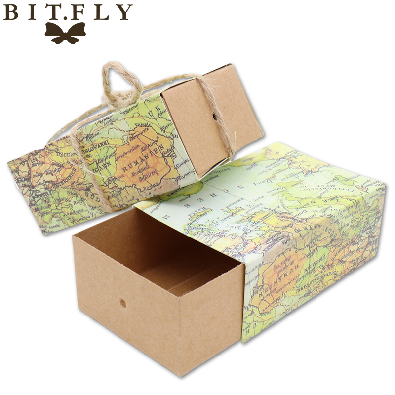World Map Gift Bags.50pcs Novelty World Map Vintage Kraft Paper Candy Box Gift Bag