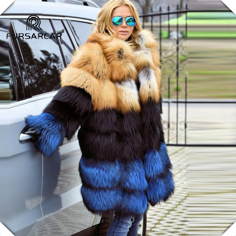 FURSARCAR Luxury Natural Real Gold Fox & Silver Fur Coat Genuine Fur Jacket For Female Women Winter Long Coat With Fur Collar