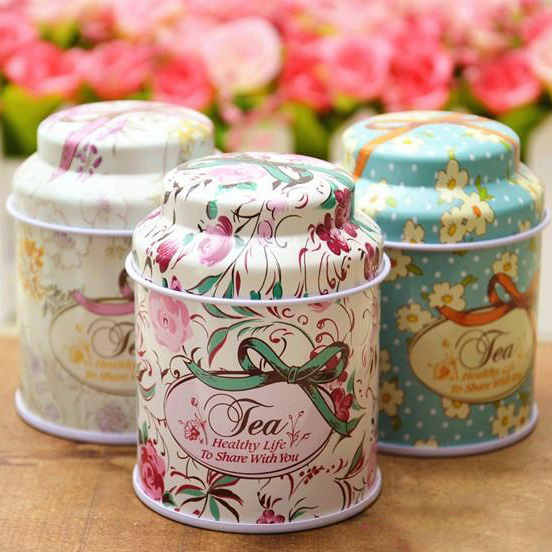 Round Shape Organizer Gift Packing Tin Box Jewelry Storage Iron