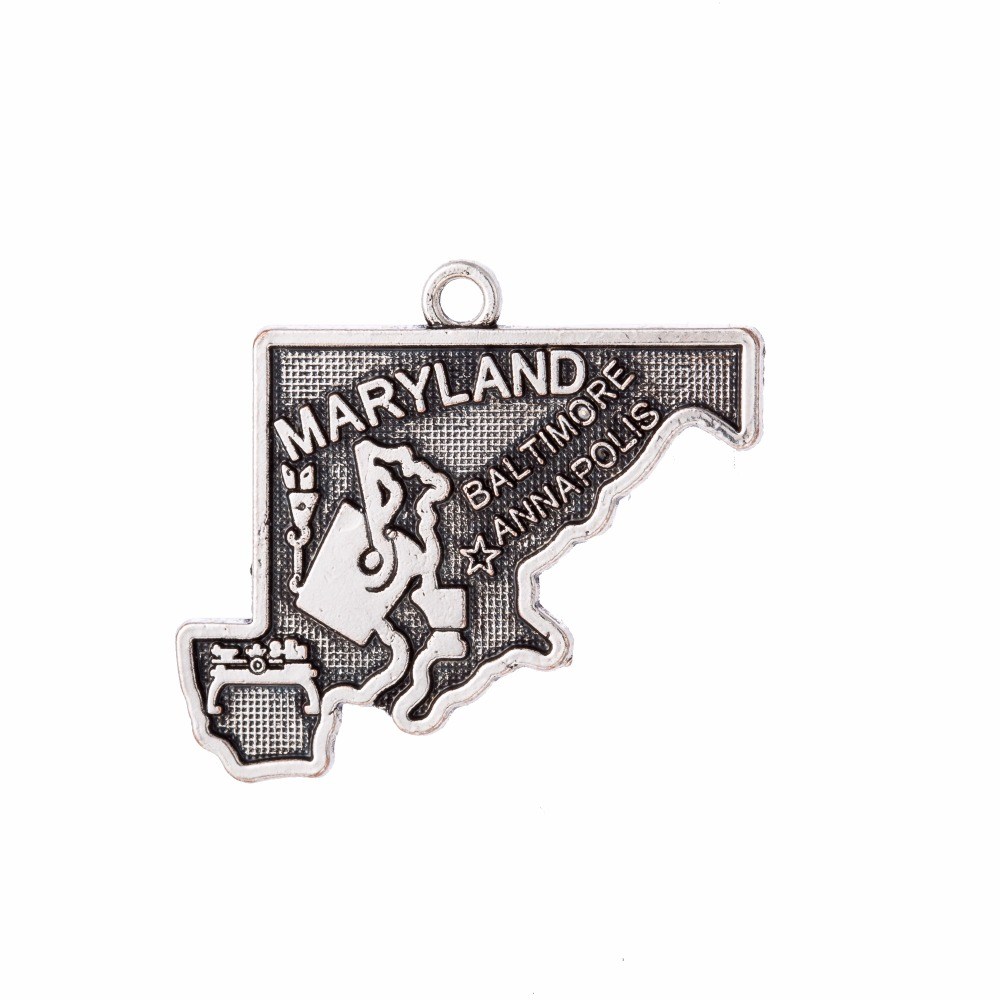 my shape Fashion Maryland State Map Charms Antique Pendant New Design Jewelry 26*23mm 20pcs