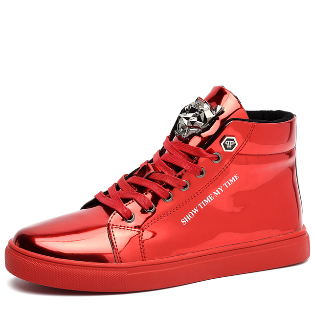 Sneakers For Men Lace-up Trend Men Flats Shoes 2018 Hot Selling Fashion Non-crease  mirror high-top men s shoes Size 39-44 1d675a7c278b