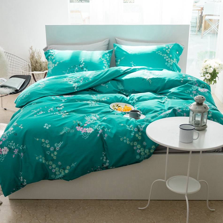 Bright blue bedding - Bright Green Spring Feeling Egyptian Cotton Bedding Set Flowers Design Duvet Cover Bed Sheet Pillow Covers