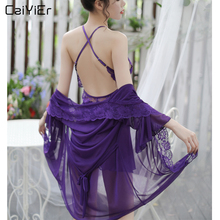 Caiyier New Sexy Sleepwear Robes Silk Satin Lace Nightgown V-Neck Backless 3Pcs Lingerie Set Summer Women Nightdress Robe