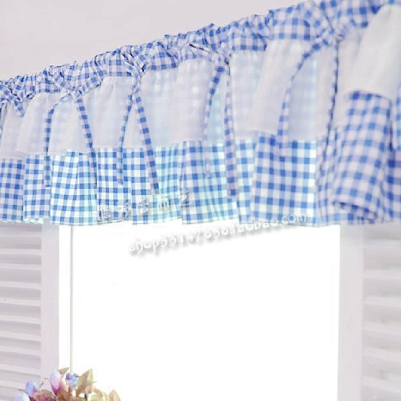 Free Shipping Blue White Plaid Beautiful Coffee Short Curtain Kitchen Curtains For Living Room Bedroom 40 150cm Customized