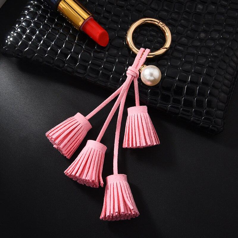 Korean Velvet Tassel Keychain Leather Tassel Pearl Pendant Car Ornaments Female Key Chain Plush Bag Pendant