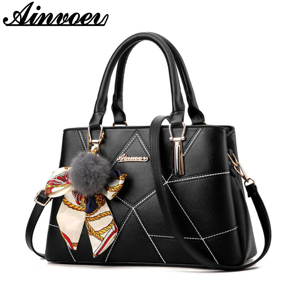 Ainvoev Famous Brands Women bags Female PU Leather Handbags Messenger Shoulder Bags Pouch 2017 winter new Ladies Tote bag A1452 2017 new fashion female handbags famous brands sac women messenger bags women s pouch bolsas purse bag ladies leather portfolio