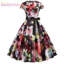 Bebovizi Women 2019 Summer New Style Dresses Casual Office Plus Size Elegant Vestidos Vintage Flower Print Short Bandage Dress