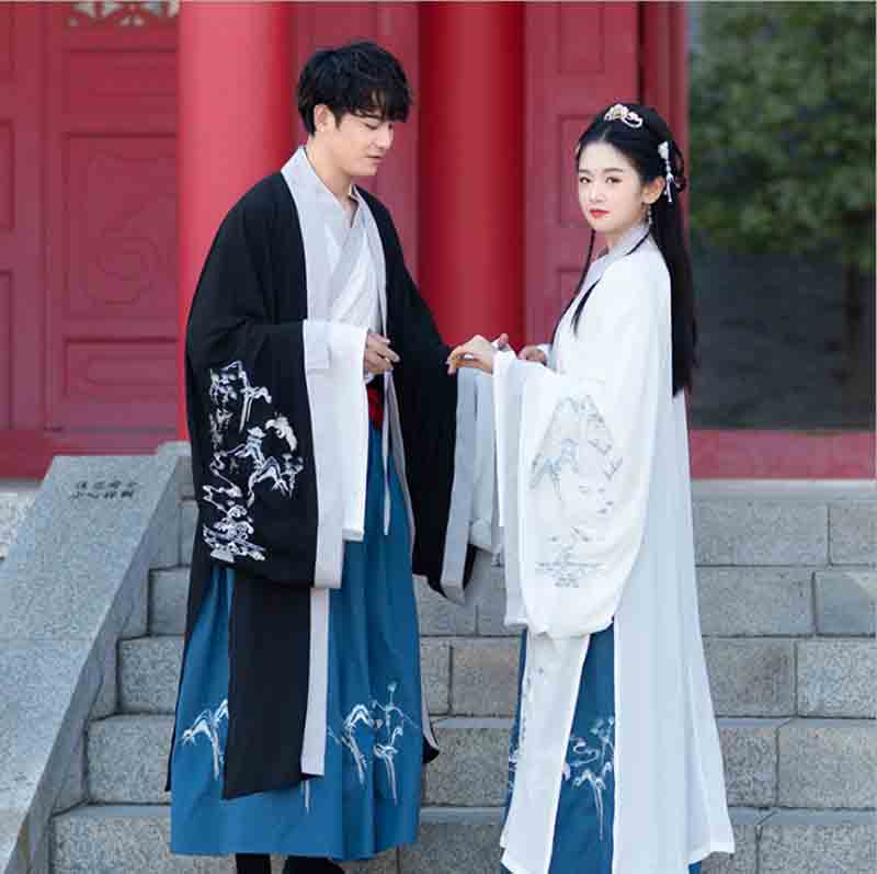 Couples Hanfu Ancient Traditional Chinese Black&Blue Sets Fancy Dress Halloween Cosplay Costume For Men/Women Plus Size 4XL 5XL